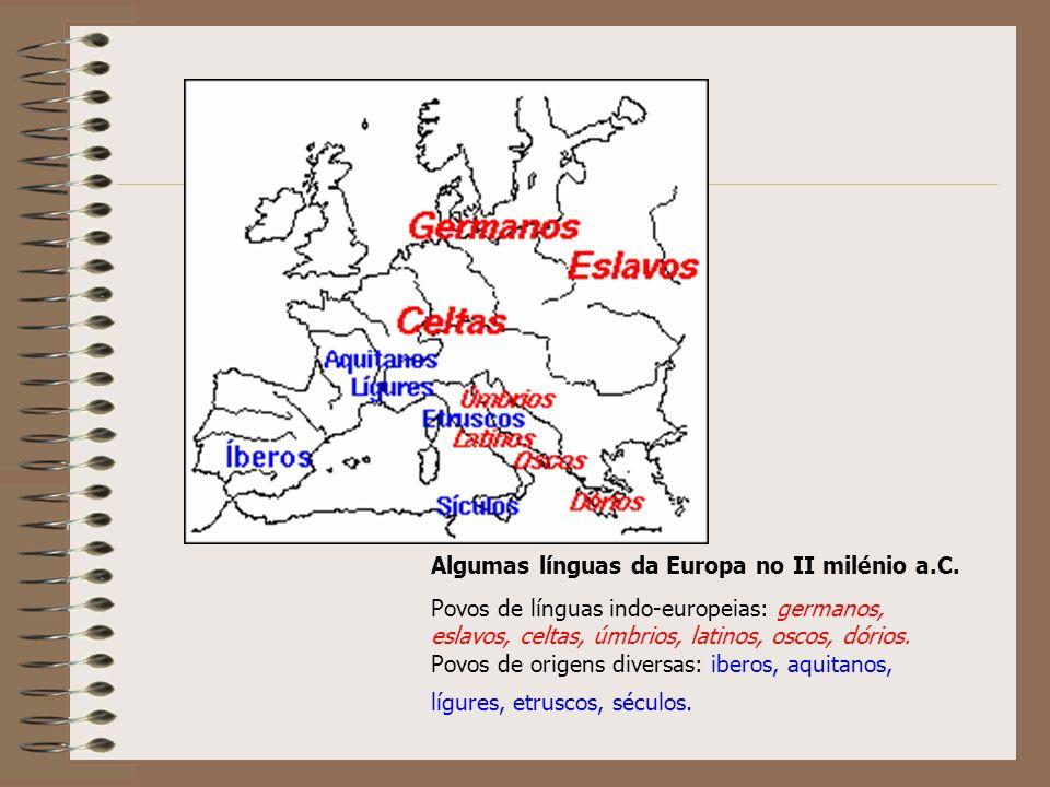 Algumas línguas da Europa no II milénio a.C.