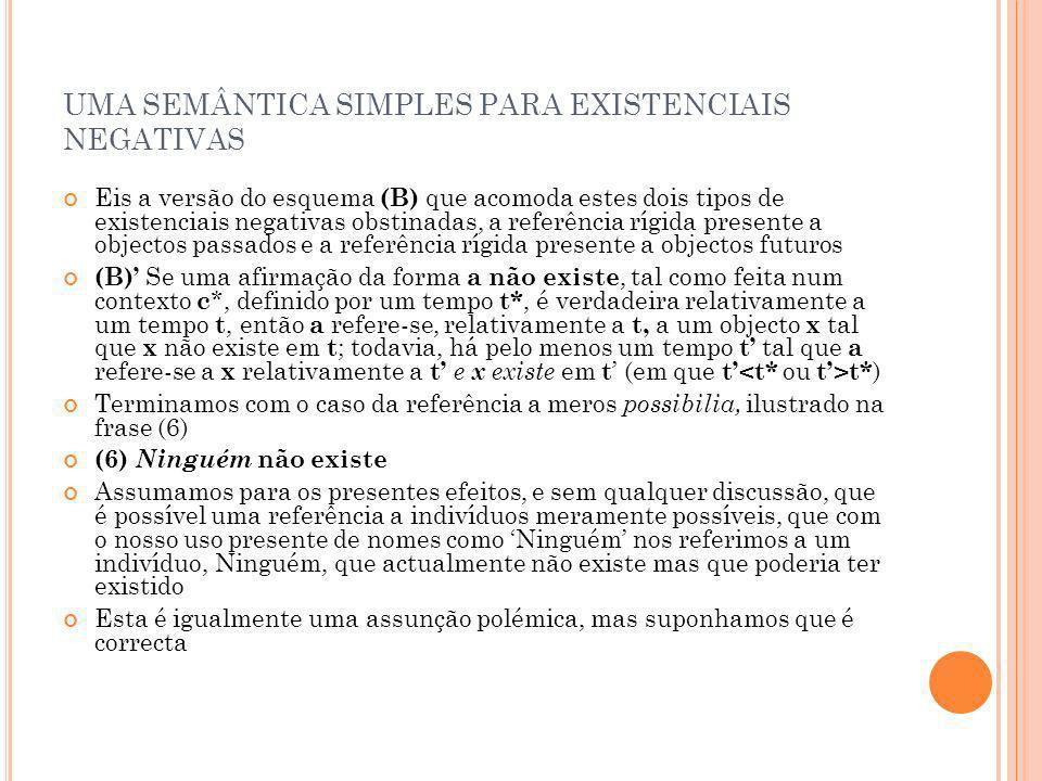 UMA SEMÂNTICA SIMPLES PARA EXISTENCIAIS NEGATIVAS