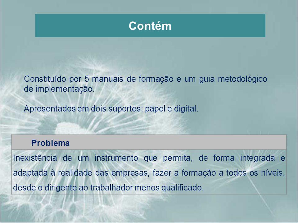 Contém Constituído por 5 manuais de formação e um guia metodológico de implementação. Apresentados em dois suportes: papel e digital.