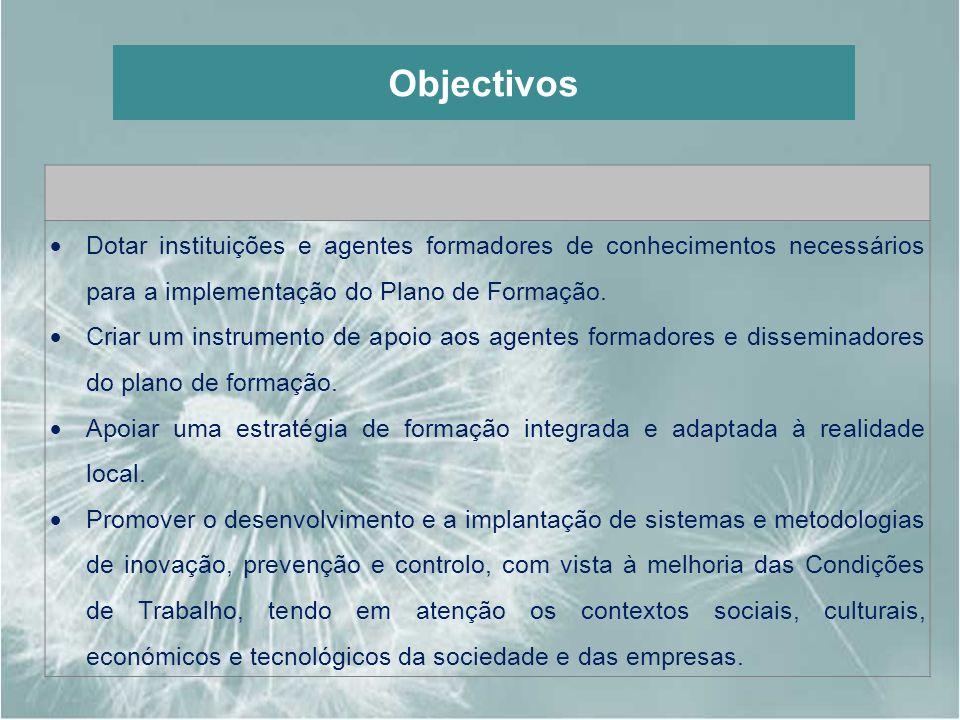 Objectivos Dotar instituições e agentes formadores de conhecimentos necessários para a implementação do Plano de Formação.