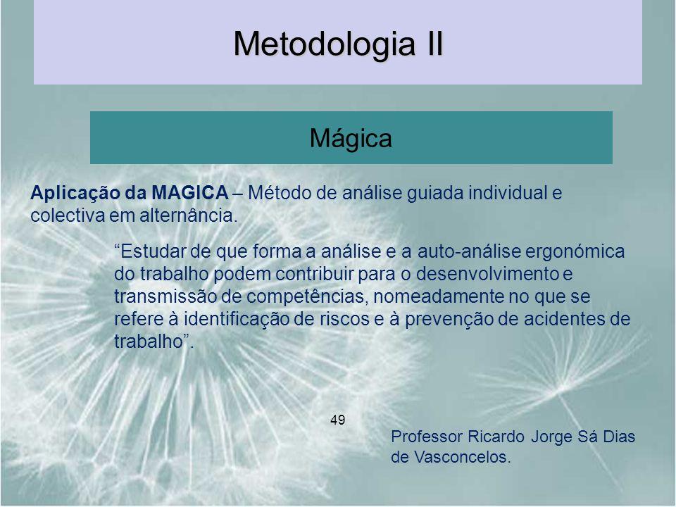 Metodologia II Mágica. Aplicação da MAGICA – Método de análise guiada individual e colectiva em alternância.