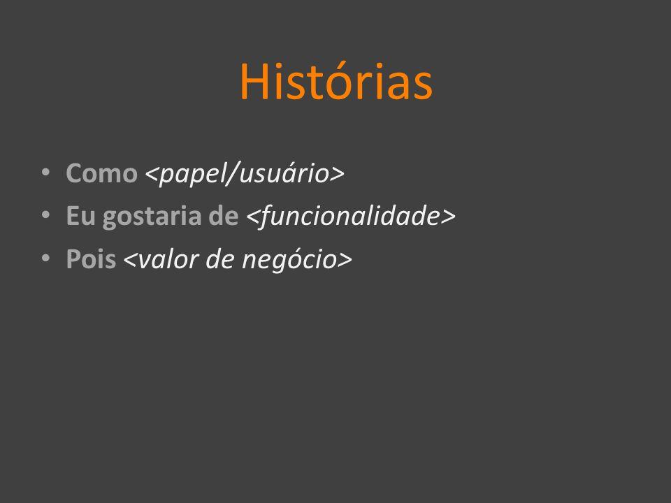 Histórias Como <papel/usuário>