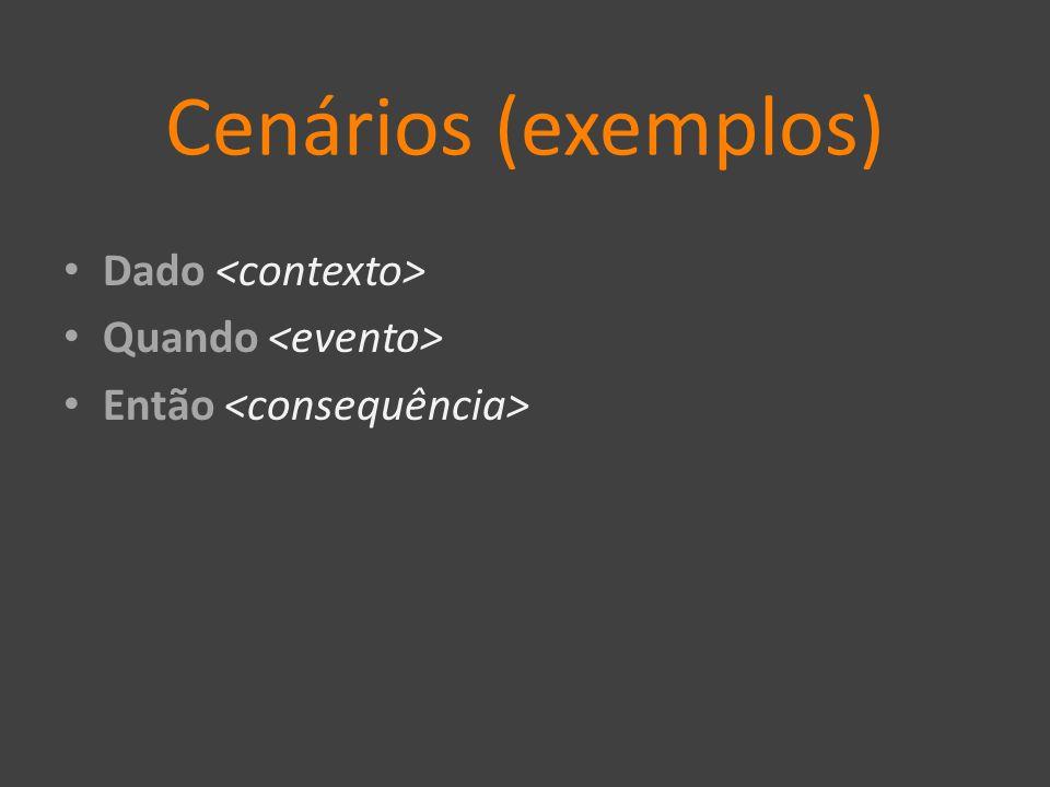 Cenários (exemplos) Dado <contexto> Quando <evento>