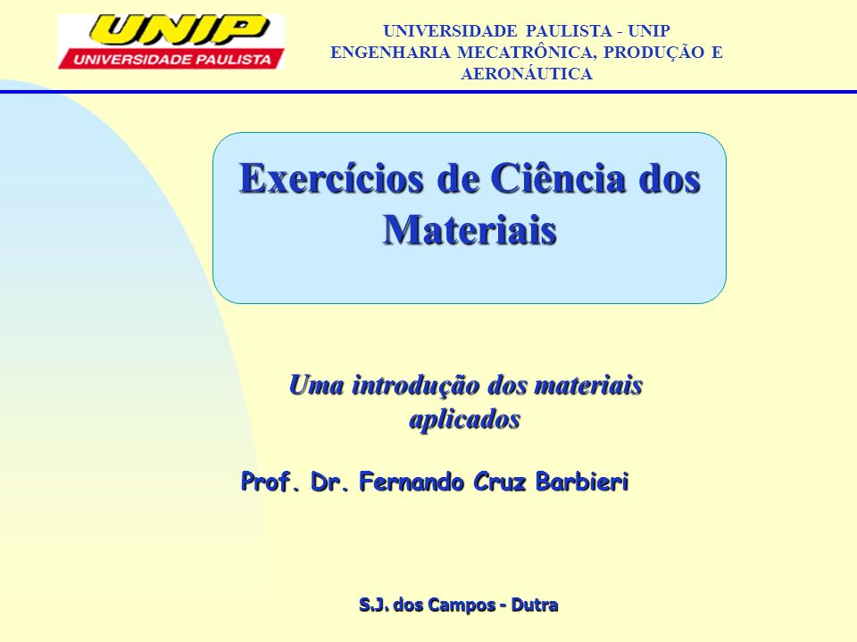 Exercícios de Ciência dos Materiais