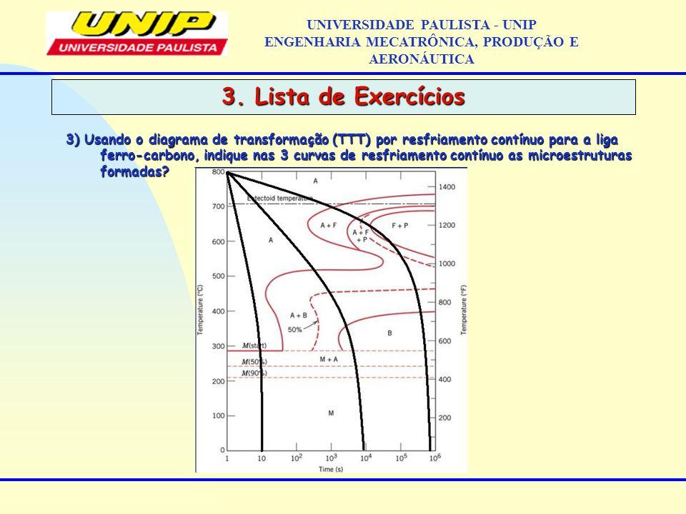 3. Lista de Exercícios UNIVERSIDADE PAULISTA - UNIP