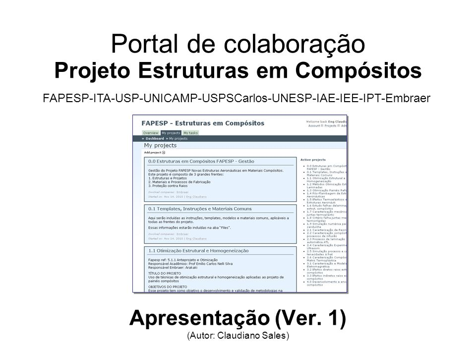 Portal de colaboração Projeto Estruturas em Compósitos