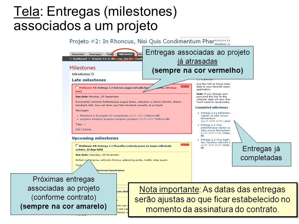 Tela: Entregas (milestones) associados a um projeto