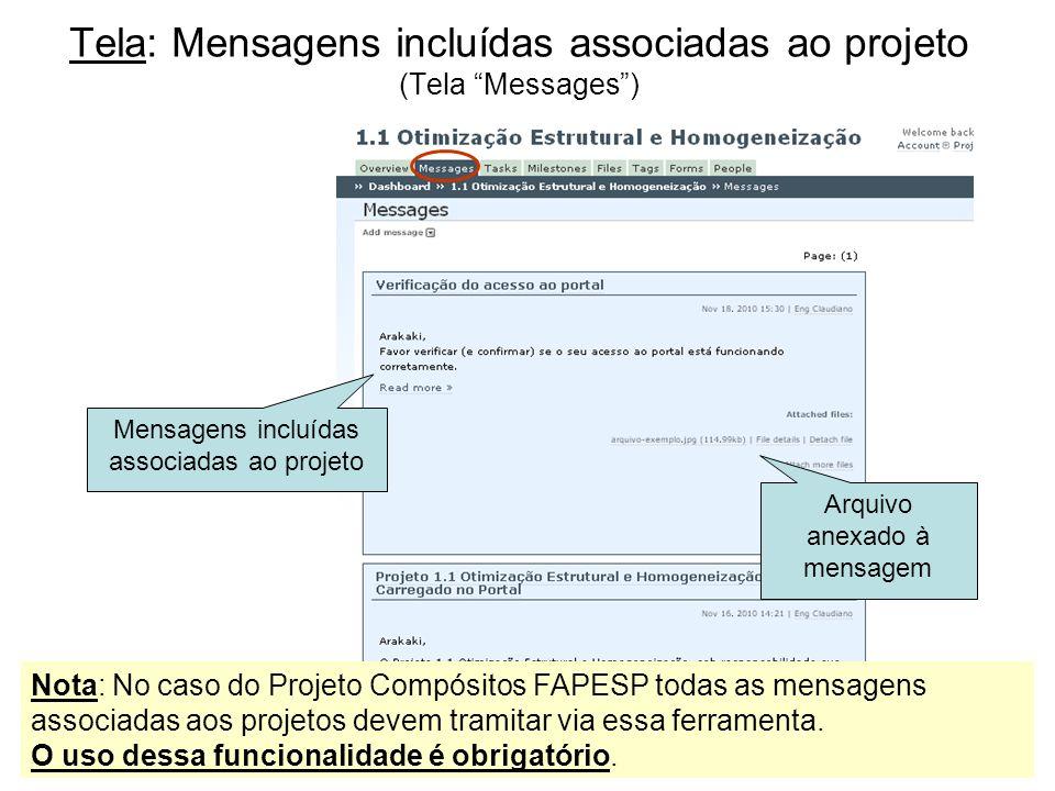 Tela: Mensagens incluídas associadas ao projeto (Tela Messages )