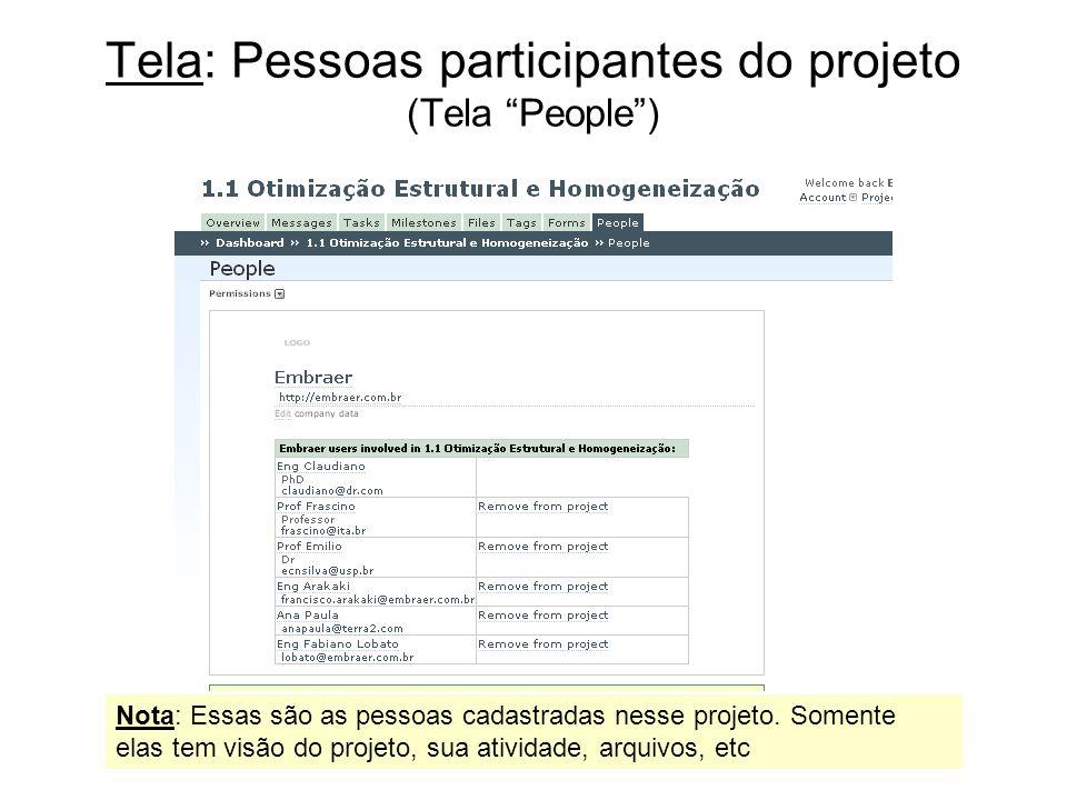 Tela: Pessoas participantes do projeto (Tela People )