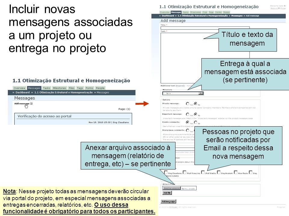 Incluir novas mensagens associadas a um projeto ou entrega no projeto