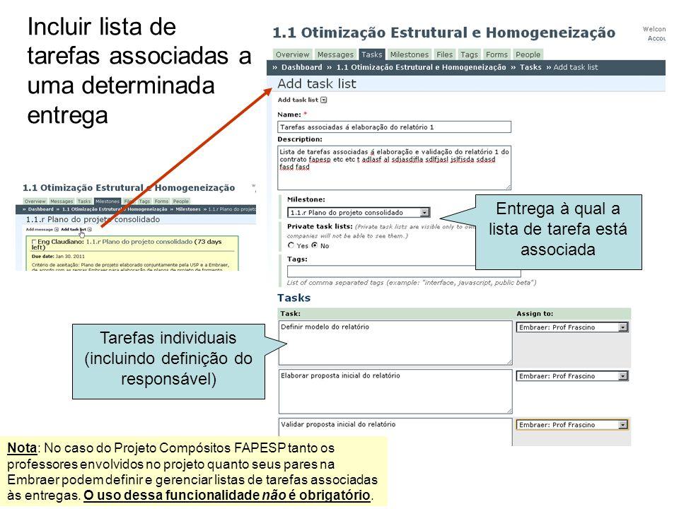 Incluir lista de tarefas associadas a uma determinada entrega