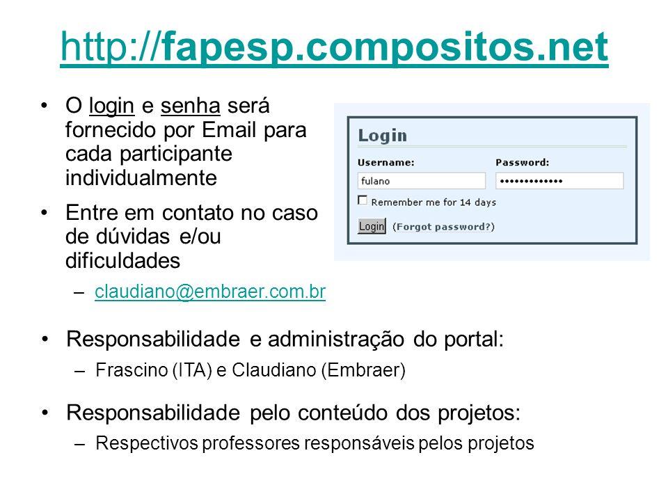 http://fapesp.compositos.netO login e senha será fornecido por Email para cada participante individualmente.
