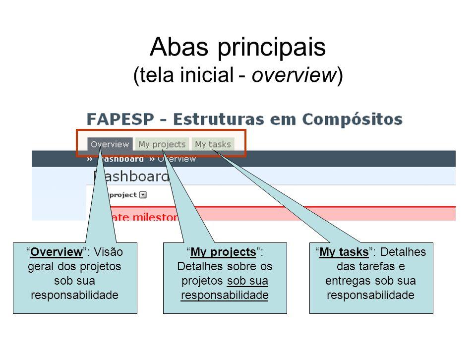 Abas principais (tela inicial - overview)