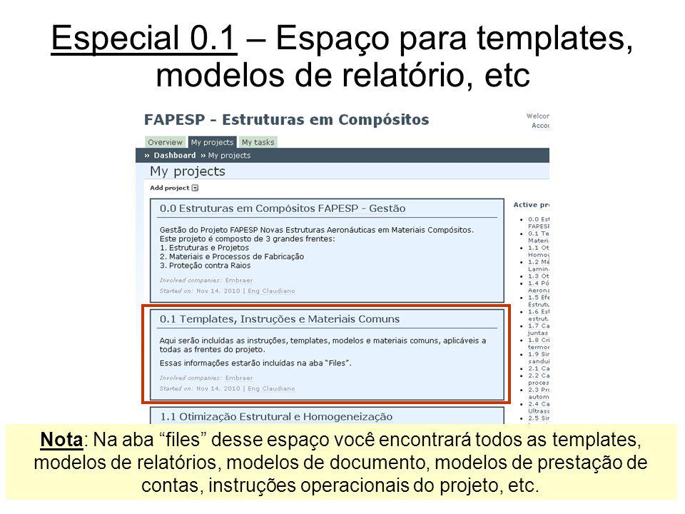 Especial 0.1 – Espaço para templates, modelos de relatório, etc