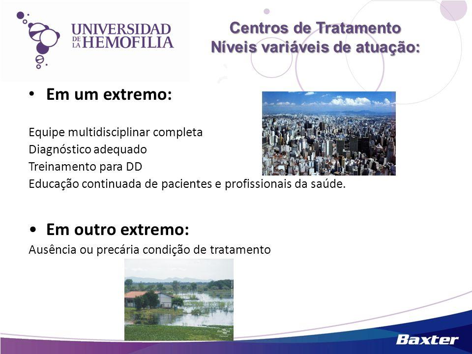 Centros de Tratamento Níveis variáveis de atuação: