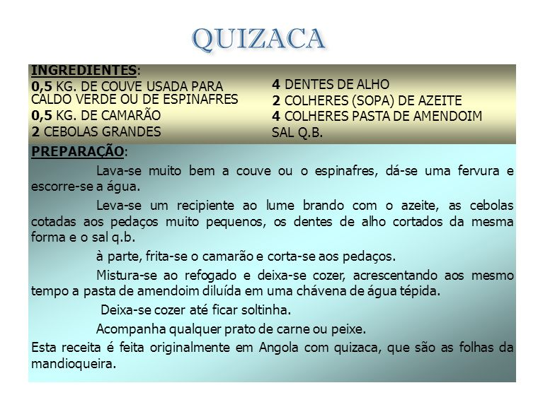 QUIZACA INGREDIENTES: