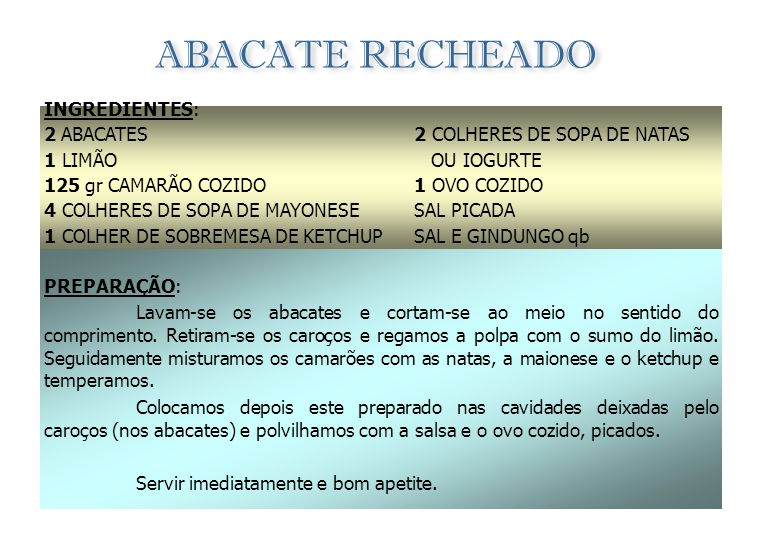 ABACATE RECHEADO INGREDIENTES: 2 ABACATES 1 LIMÃO