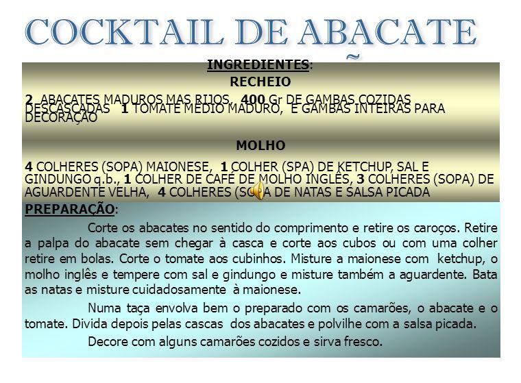 COCKTAIL DE ABACATE COM CAMARÃO