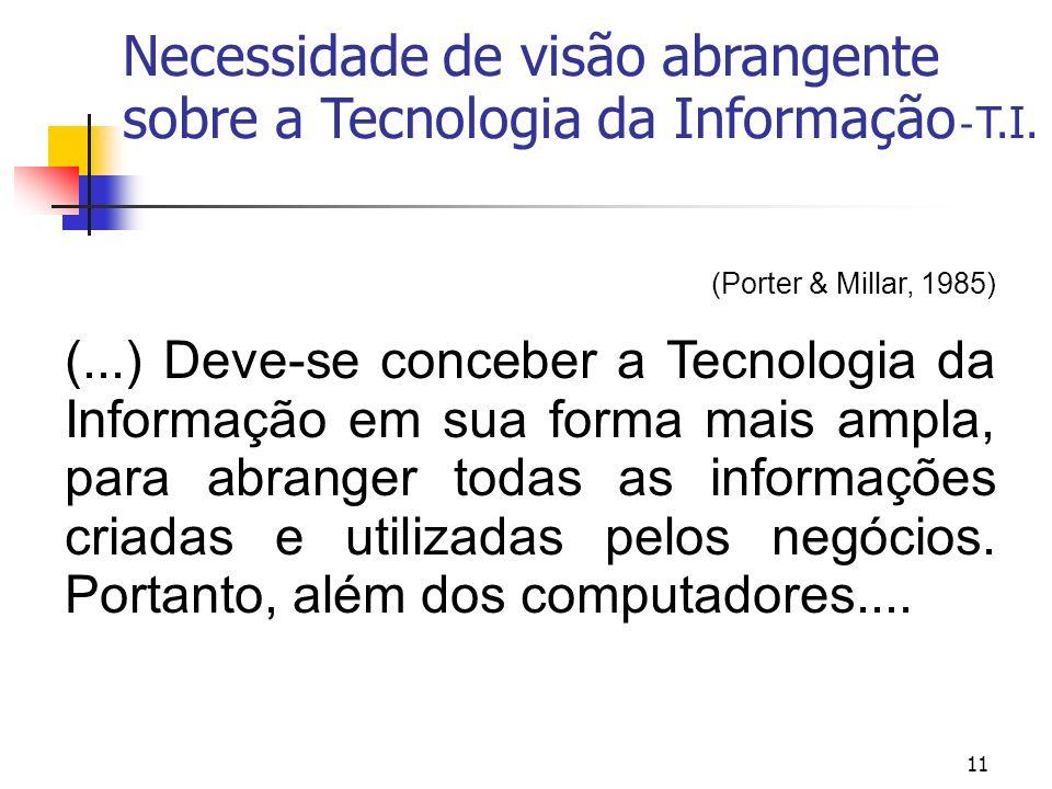 Necessidade de visão abrangente sobre a Tecnologia da Informação - T.I.