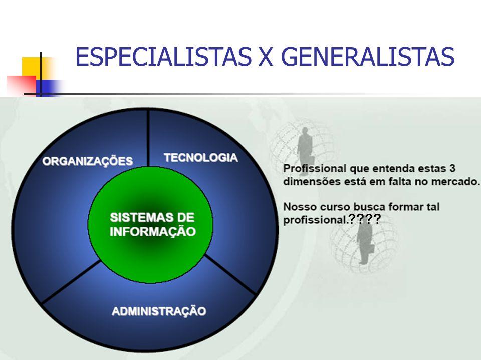 ESPECIALISTAS X GENERALISTAS