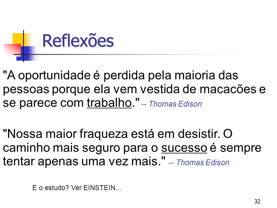 Reflexões A oportunidade é perdida pela maioria das pessoas porque ela vem vestida de macacões e se parece com trabalho. -- Thomas Edison.