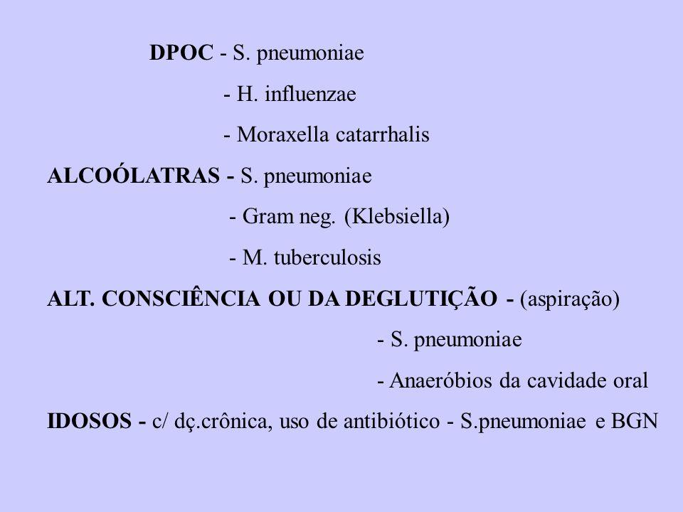 DPOC - S. pneumoniae - H. influenzae. - Moraxella catarrhalis. ALCOÓLATRAS - S. pneumoniae. - Gram neg. (Klebsiella)