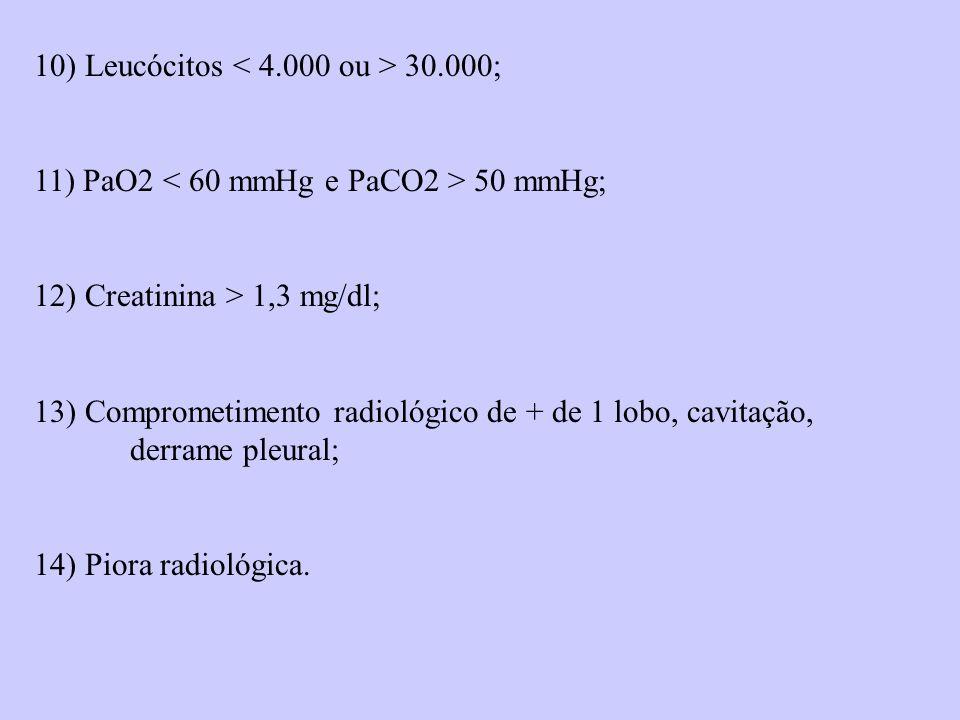 10) Leucócitos < 4.000 ou > 30.000;