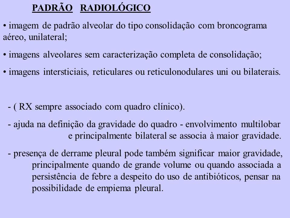 PADRÃO RADIOLÓGICO imagem de padrão alveolar do tipo consolidação com broncograma aéreo, unilateral;