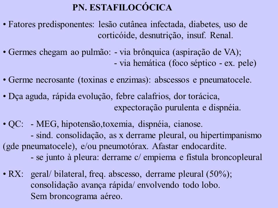 PN. ESTAFILOCÓCICA Fatores predisponentes: lesão cutânea infectada, diabetes, uso de corticóide, desnutrição, insuf. Renal.
