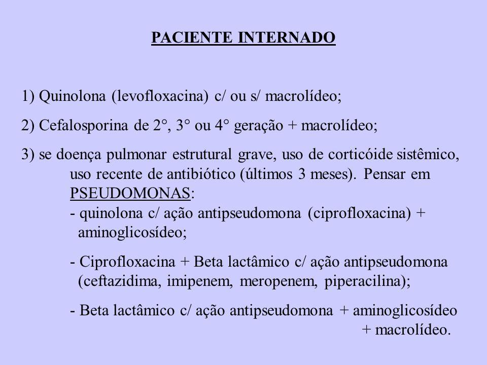 PACIENTE INTERNADO 1) Quinolona (levofloxacina) c/ ou s/ macrolídeo; 2) Cefalosporina de 2°, 3° ou 4° geração + macrolídeo;