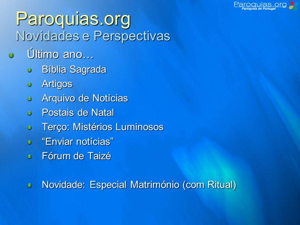 Paroquias.org Novidades e Perspectivas