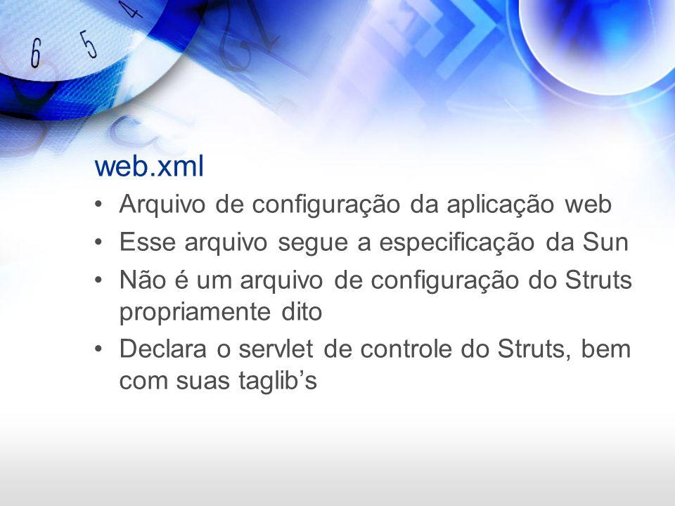 web.xml Arquivo de configuração da aplicação web