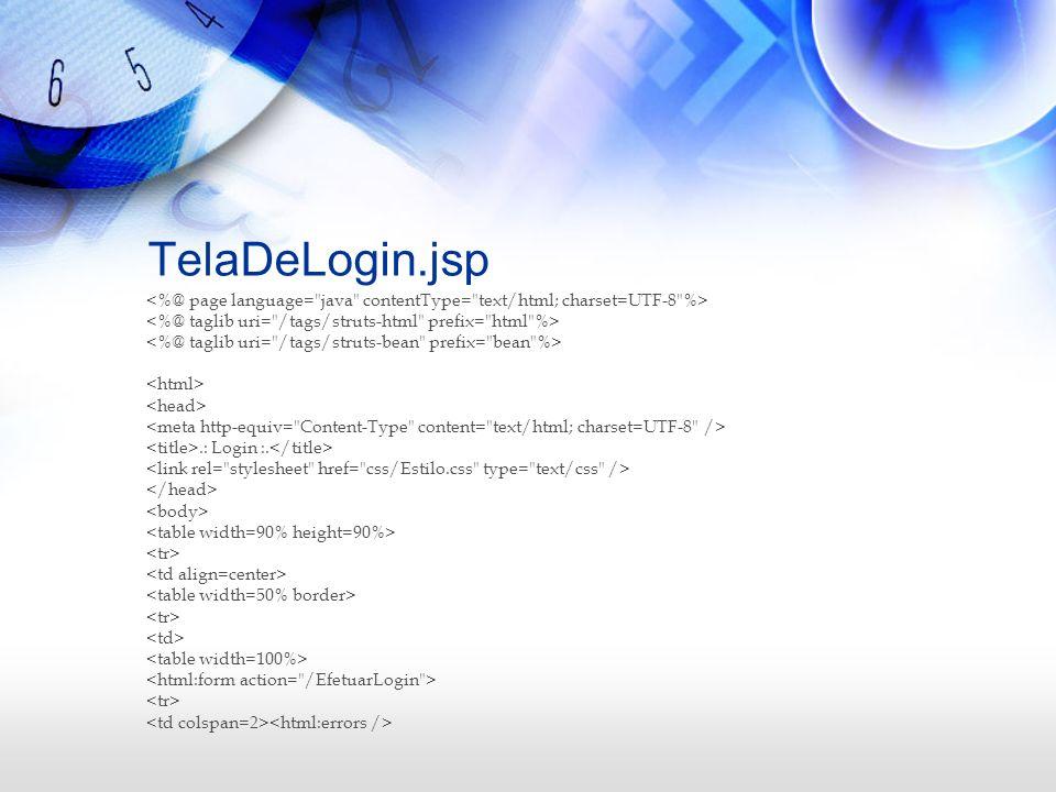 TelaDeLogin.jsp <%@ page language= java contentType= text/html; charset=UTF-8 %> <%@ taglib uri= /tags/struts-html prefix= html %>
