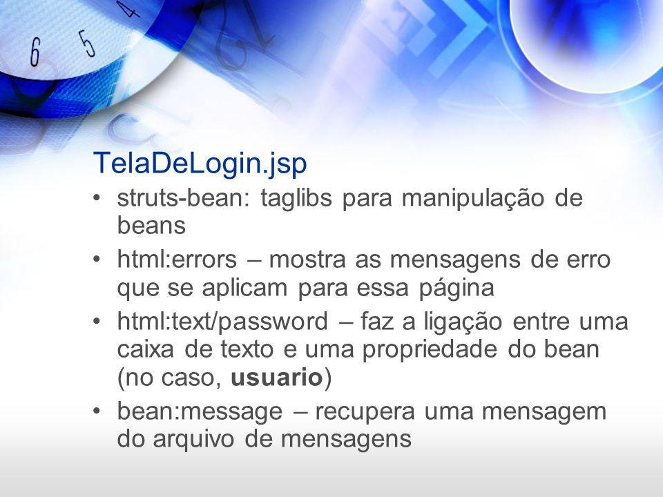 TelaDeLogin.jsp struts-bean: taglibs para manipulação de beans