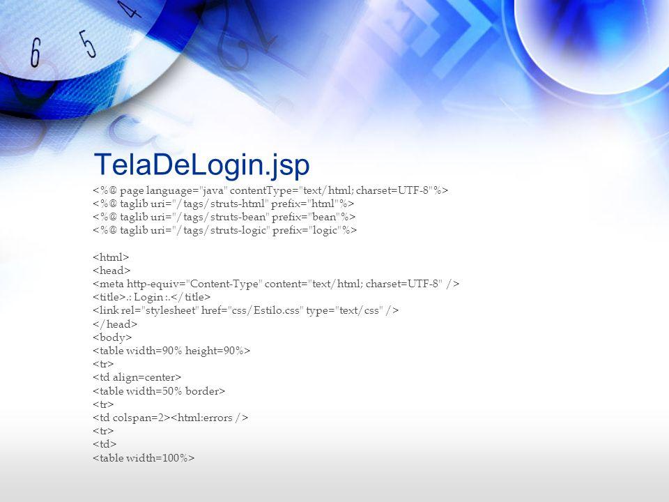 TelaDeLogin.jsp<%@ page language= java contentType= text/html; charset=UTF-8 %> <%@ taglib uri= /tags/struts-html prefix= html %>