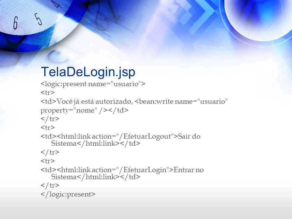 TelaDeLogin.jsp <logic:present name= usuario > <tr>