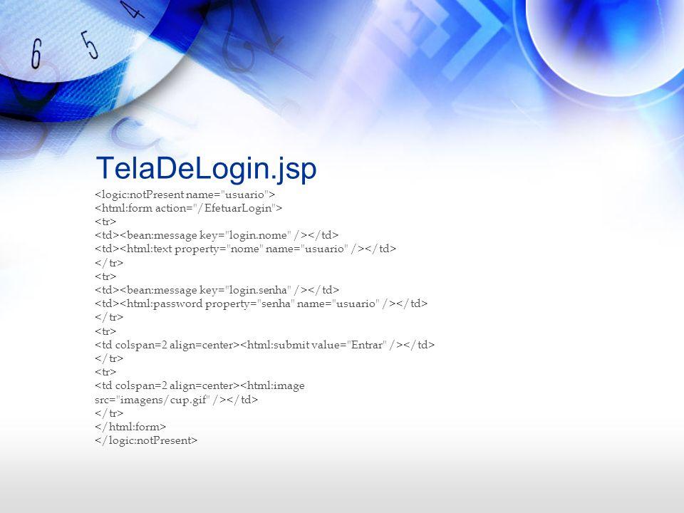 TelaDeLogin.jsp <logic:notPresent name= usuario >
