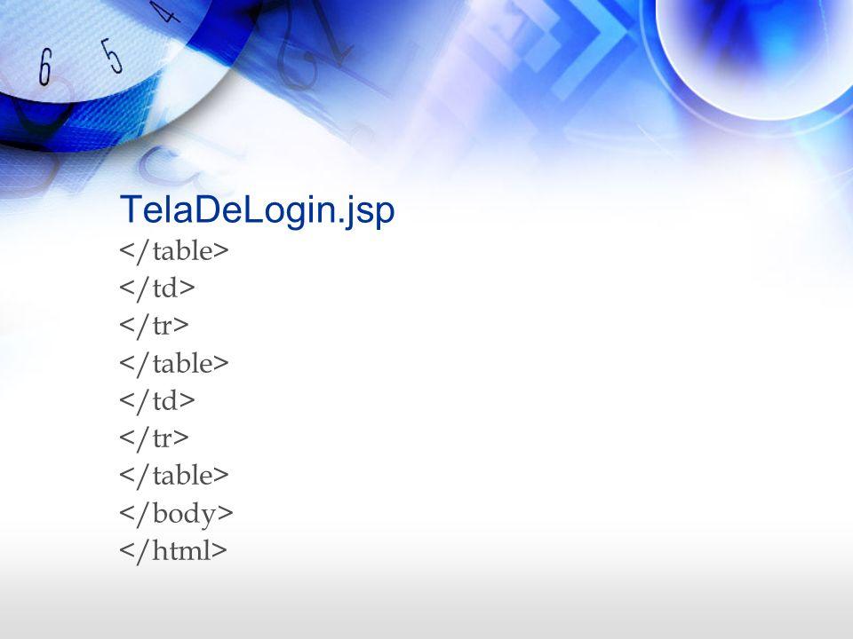 TelaDeLogin.jsp </table> </td> </tr> </body>