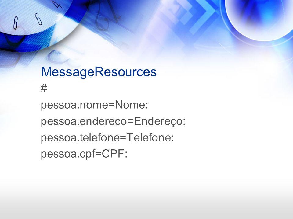 MessageResources # pessoa.nome=Nome: pessoa.endereco=Endereço: