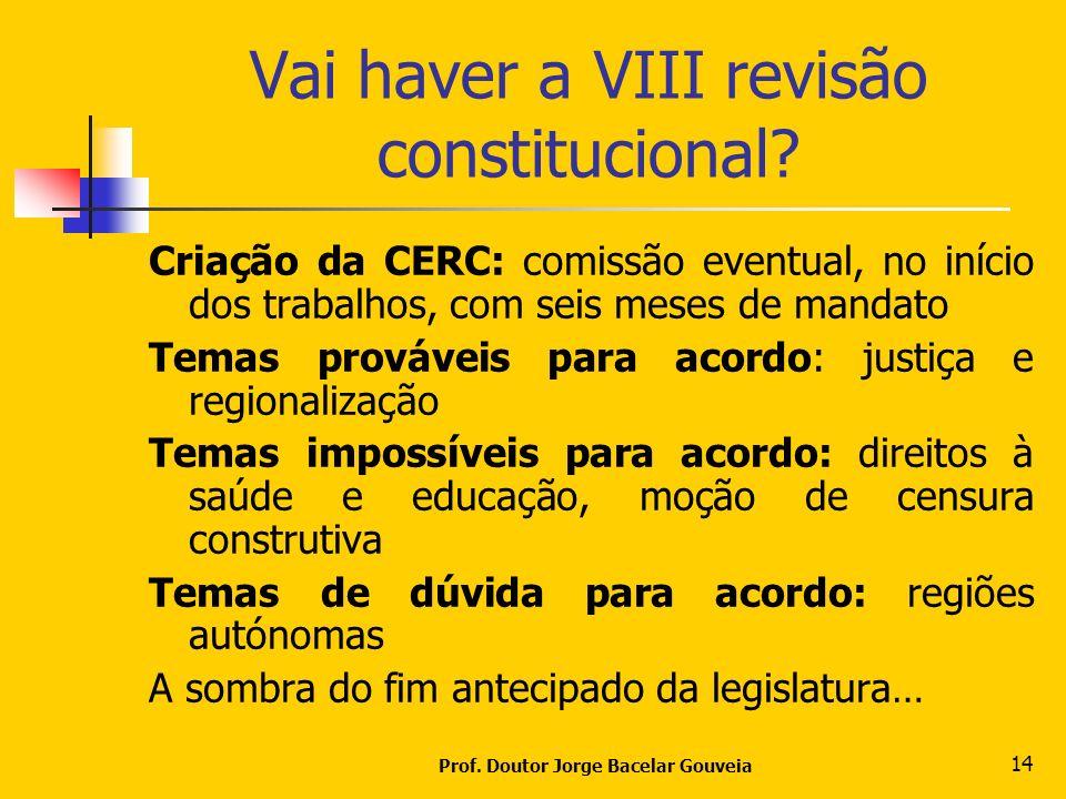 Vai haver a VIII revisão constitucional