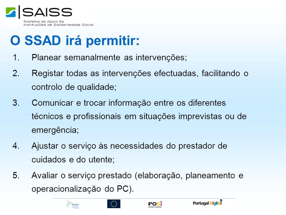O SSAD irá permitir: Planear semanalmente as intervenções;