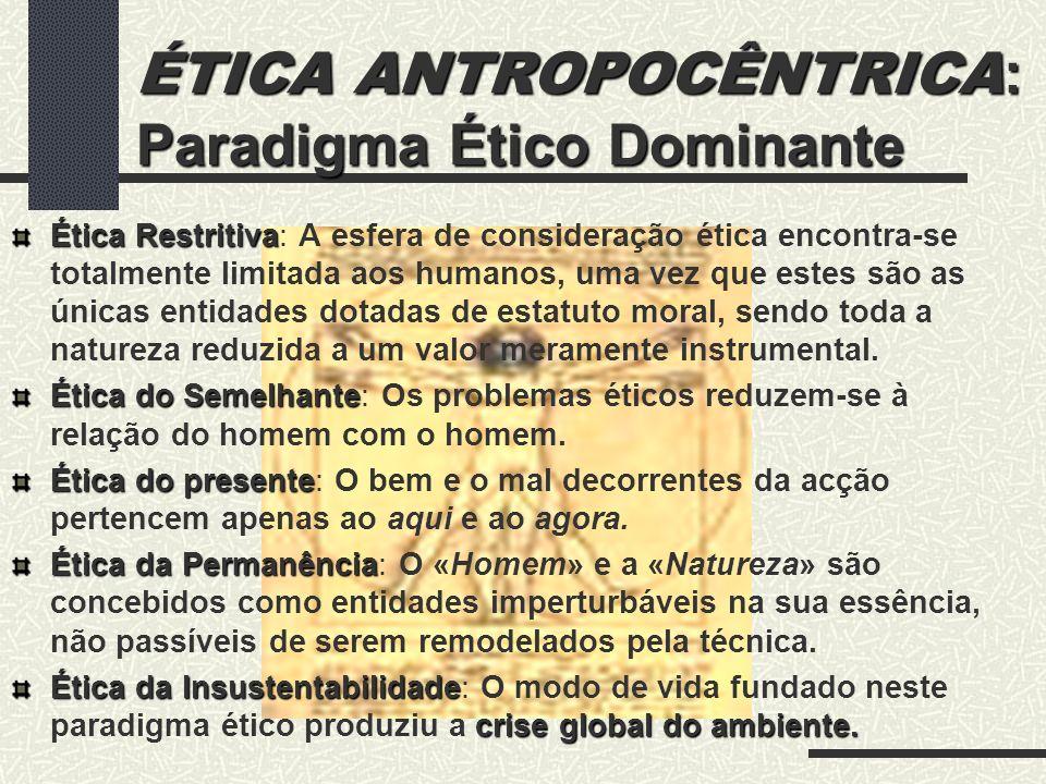 ÉTICA ANTROPOCÊNTRICA: Paradigma Ético Dominante