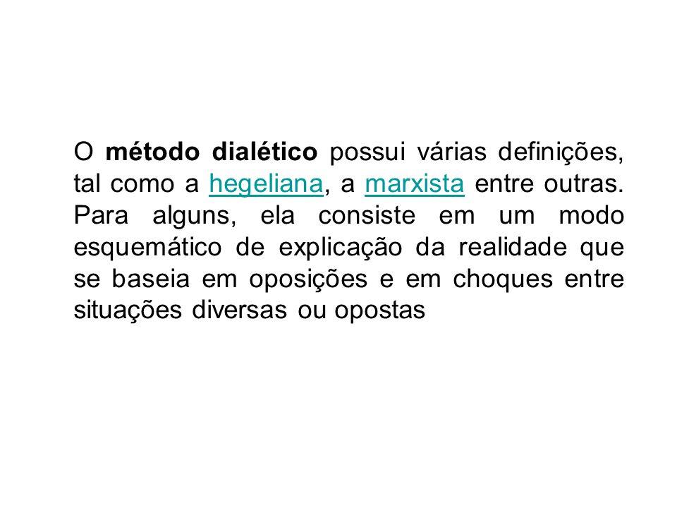 O método dialético possui várias definições, tal como a hegeliana, a marxista entre outras.