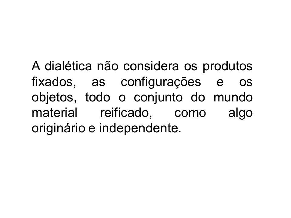 A dialética não considera os produtos fixados, as configurações e os objetos, todo o conjunto do mundo material reificado, como algo originário e independente.