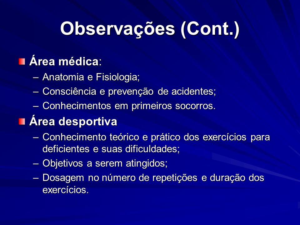 Observações (Cont.) Área médica: Área desportiva