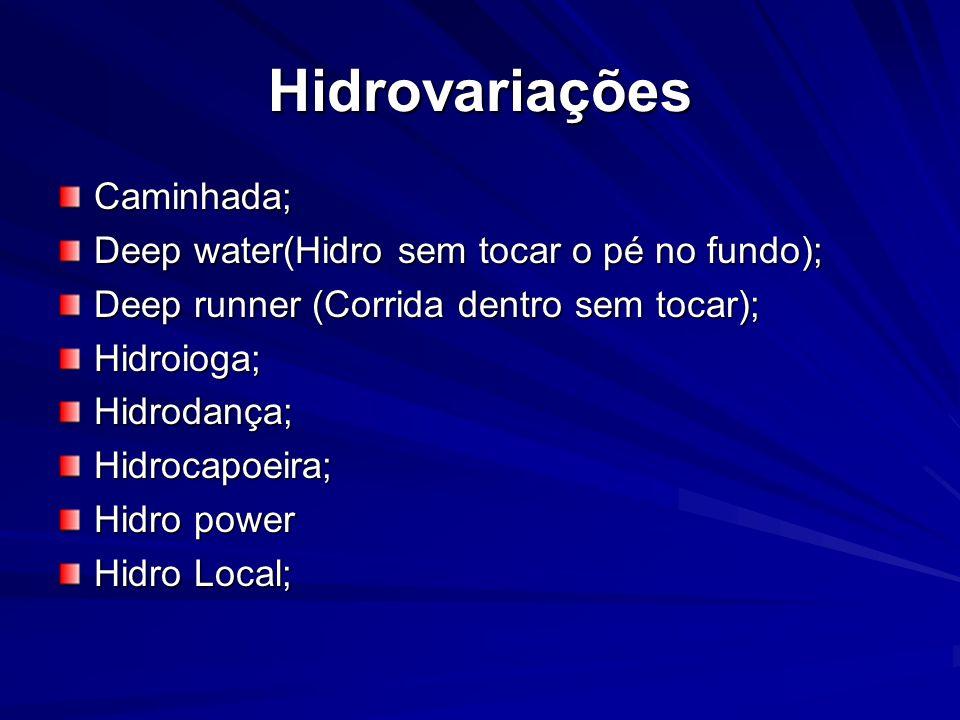 Hidrovariações Caminhada; Deep water(Hidro sem tocar o pé no fundo);