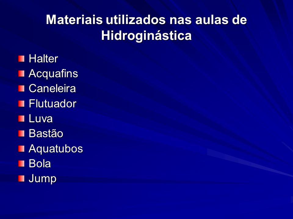 Materiais utilizados nas aulas de Hidroginástica