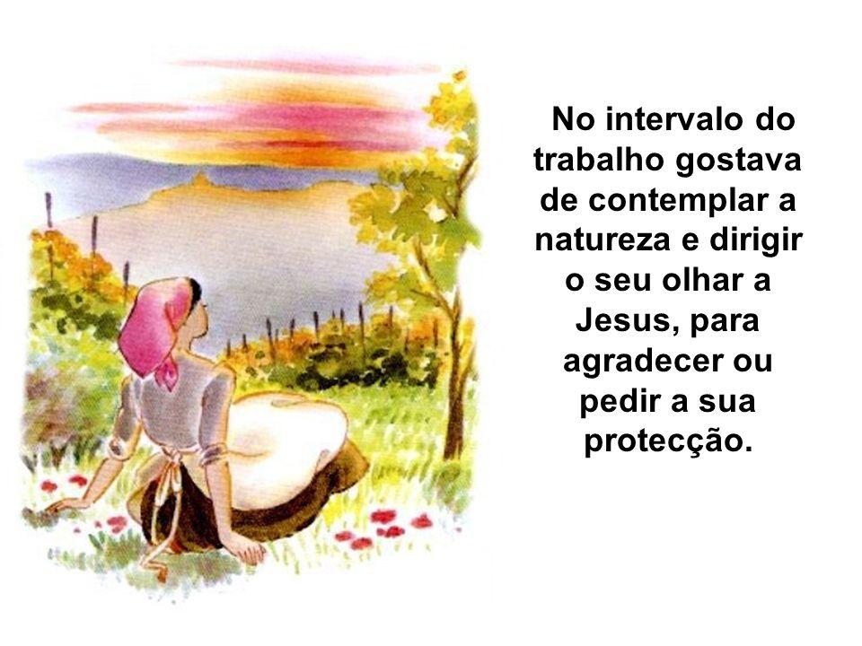 No intervalo do trabalho gostava de contemplar a natureza e dirigir o seu olhar a Jesus, para agradecer ou pedir a sua protecção.