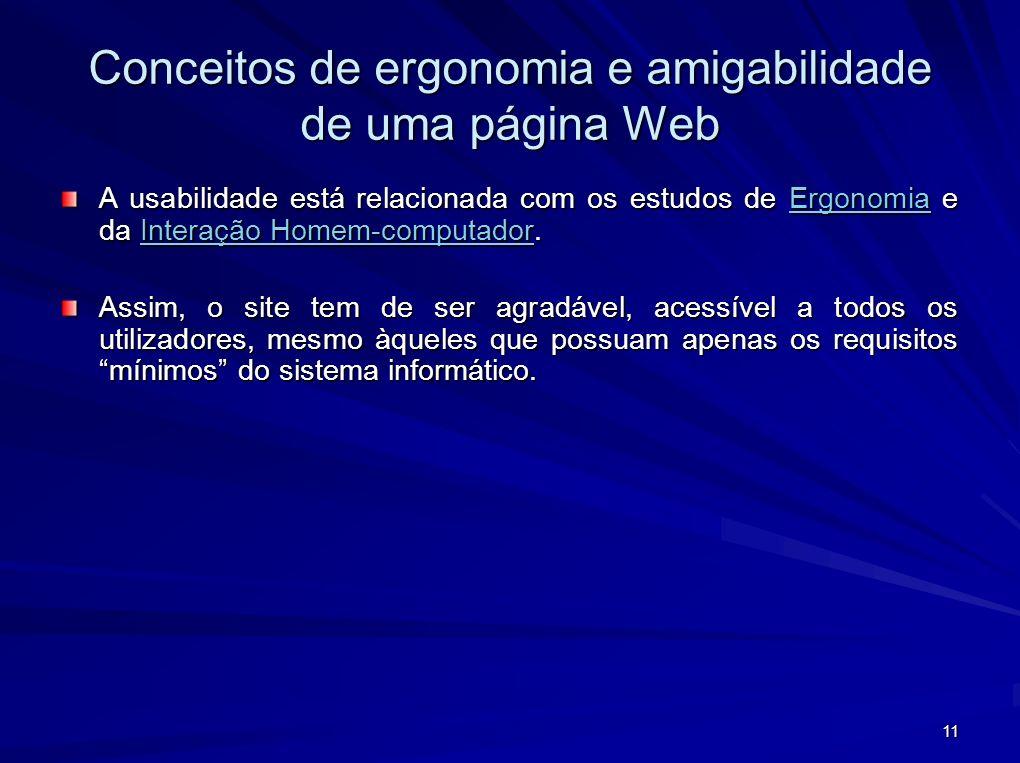 Conceitos de ergonomia e amigabilidade de uma página Web