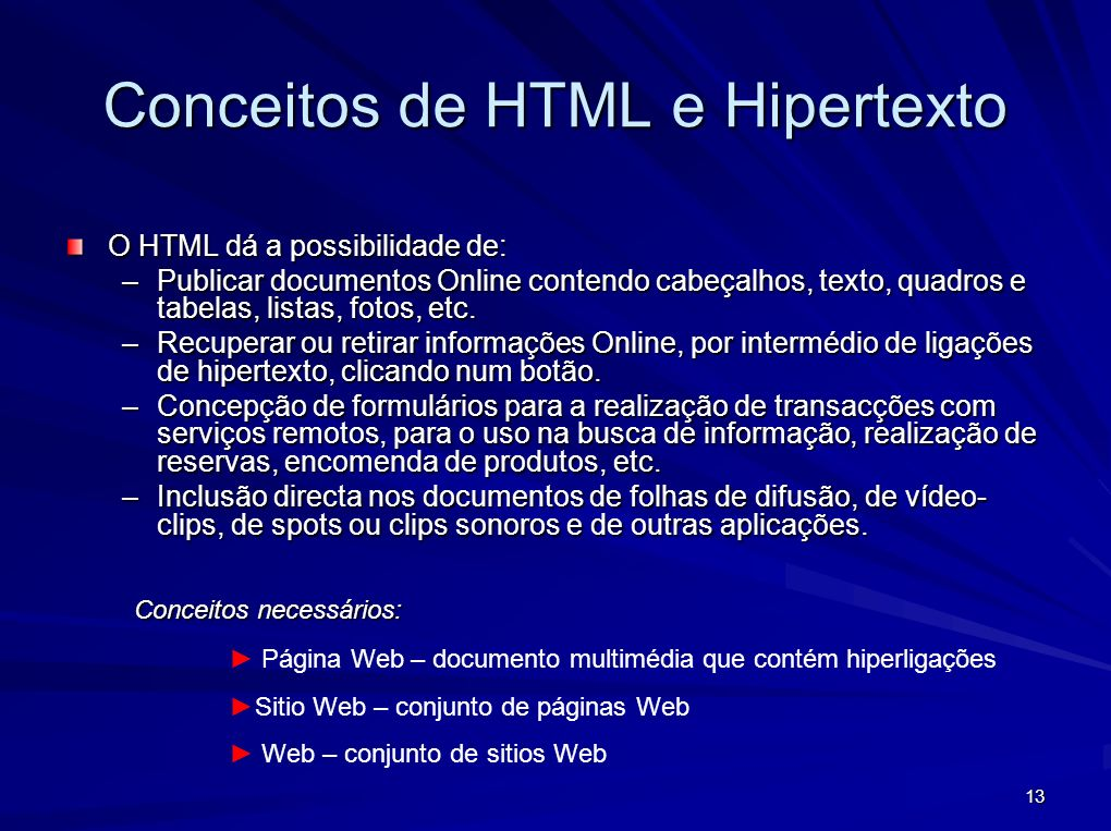 Conceitos de HTML e Hipertexto